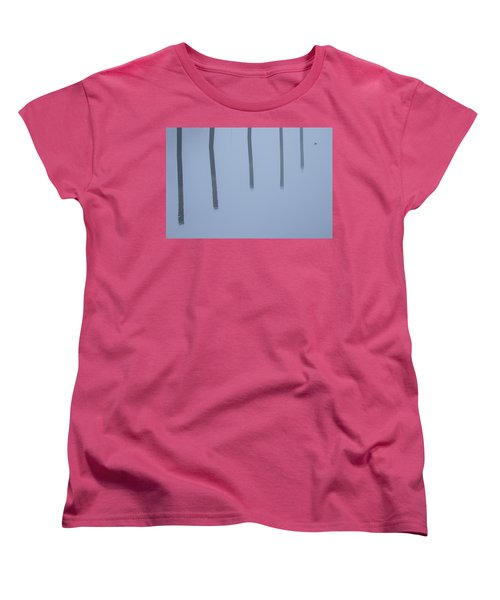 Women's T-Shirt (Standard Cut) featuring the photograph Five Poles And A Duck by Karol Livote