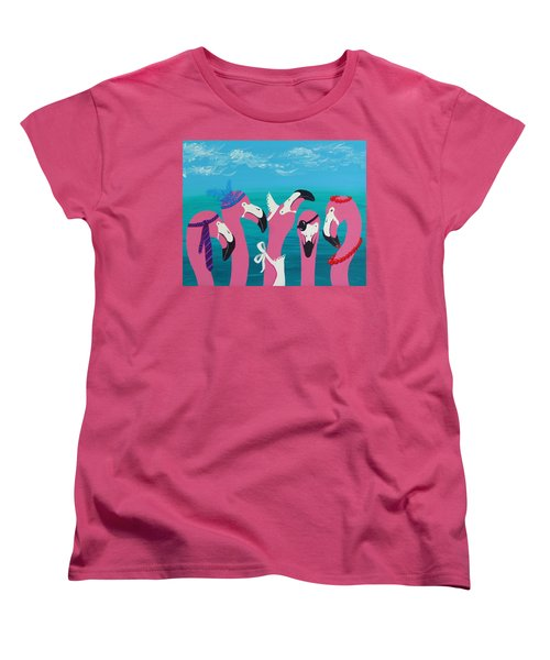 Women's T-Shirt (Standard Cut) featuring the painting Flamingo Party by Katherine Young-Beck