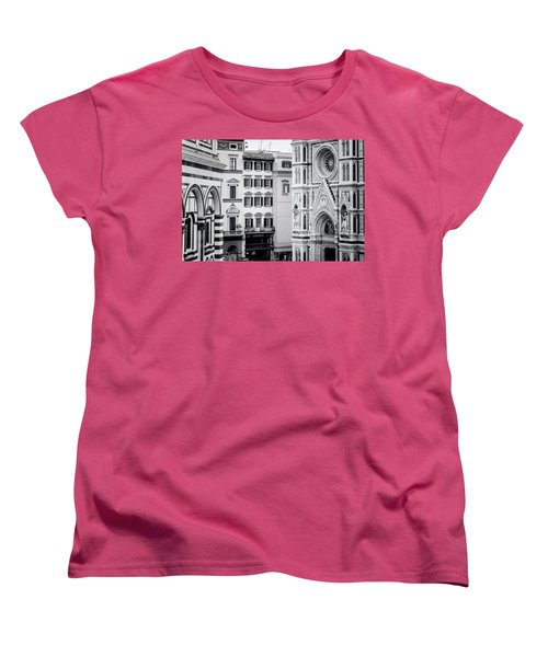 Women's T-Shirt (Standard Cut) featuring the photograph Florence Italy View Bw by Joan Carroll