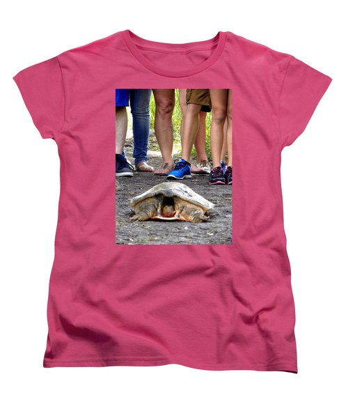 Women's T-Shirt (Standard Cut) featuring the photograph Florida Softshell Turtle 003 by Chris Mercer