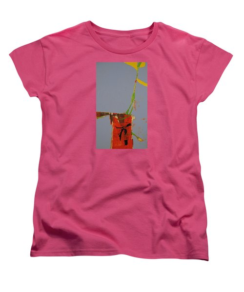 Women's T-Shirt (Standard Cut) featuring the painting Flower In Pitcher- Abstract Of Course by Cliff Spohn