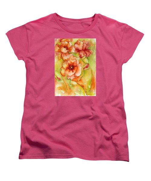 Women's T-Shirt (Standard Cut) featuring the painting Flying With The Wind Poppies by Inese Poga