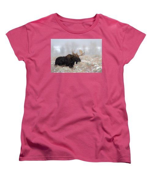 Women's T-Shirt (Standard Cut) featuring the photograph Foggy Moose Silhouette by Adam Jewell