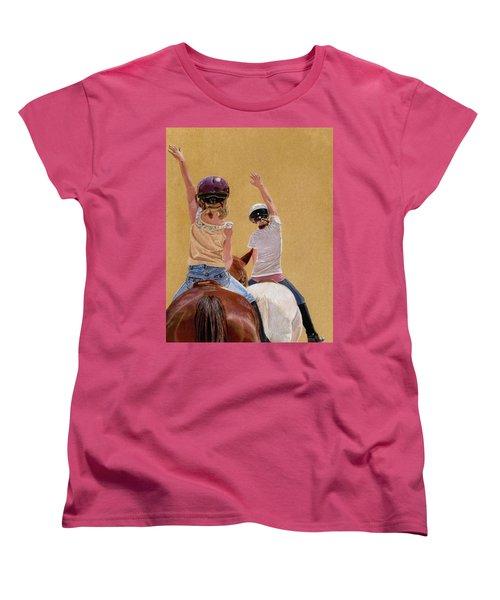 Follow The Leader - Horseback Riding Lesson Painting Women's T-Shirt (Standard Cut) by Patricia Barmatz