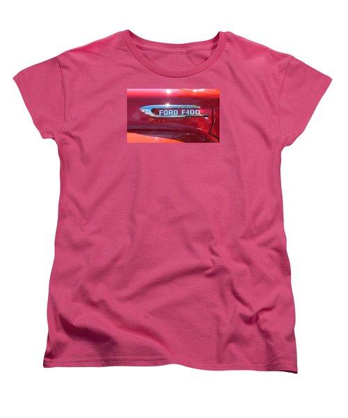 Women's T-Shirt (Standard Cut) featuring the photograph Ford F-100 Logo by Spyder Webb