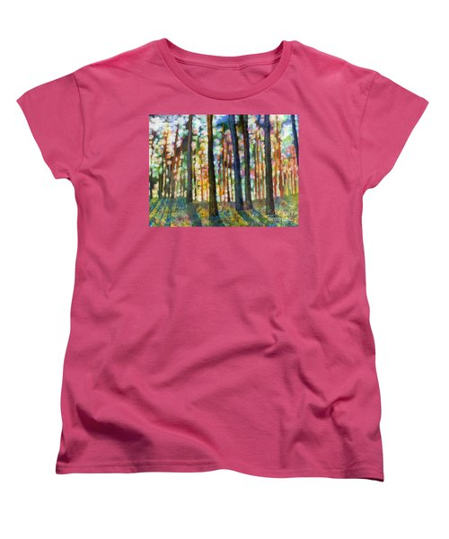 Women's T-Shirt (Standard Cut) featuring the painting Forest Light by Hailey E Herrera