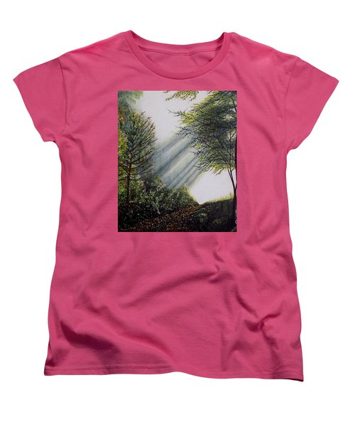 Women's T-Shirt (Standard Cut) featuring the painting Forest Pathway by Judy Kirouac