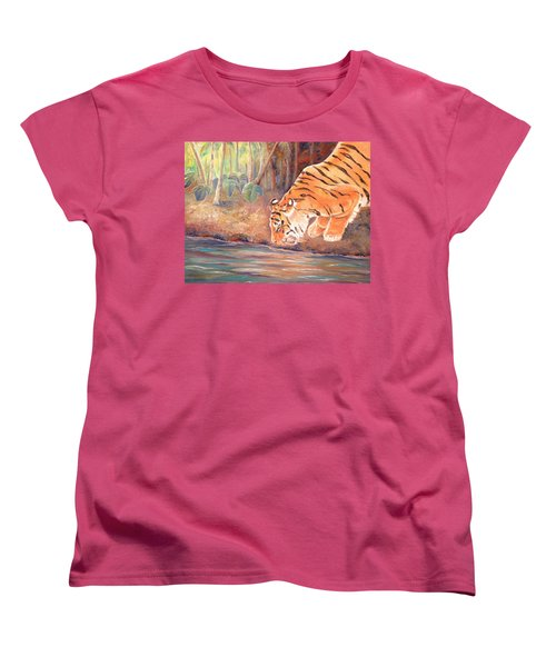 Women's T-Shirt (Standard Cut) featuring the painting Forest Tiger by Elizabeth Lock