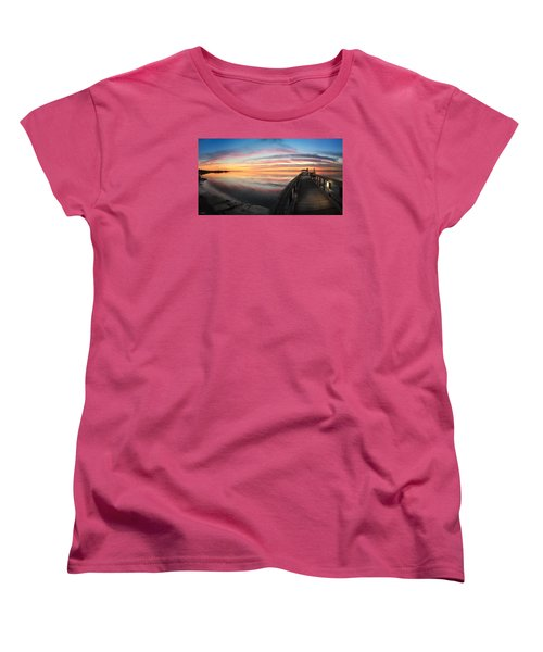 Women's T-Shirt (Standard Cut) featuring the photograph Fort Fisher Sunset Reverie With Heron by Phil Mancuso