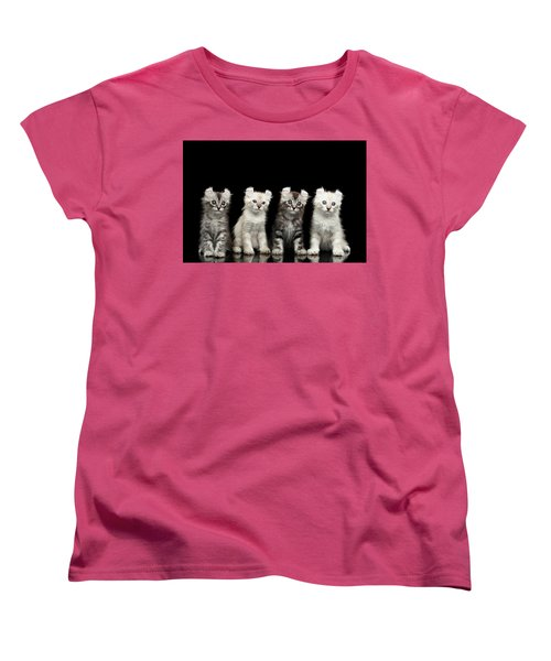 Four American Curl Kittens With Twisted Ears Isolated Black Background Women's T-Shirt (Standard Cut) by Sergey Taran