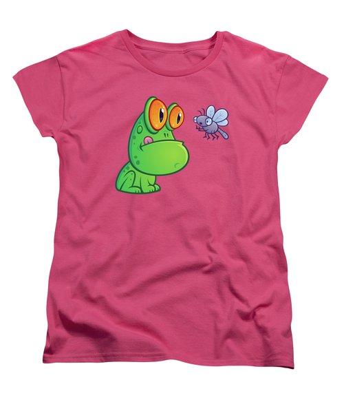 Frog And Dragonfly Women's T-Shirt (Standard Cut) by John Schwegel