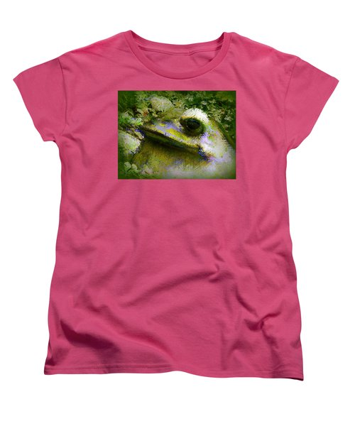Women's T-Shirt (Standard Cut) featuring the photograph Frog In The Pond by Lori Seaman