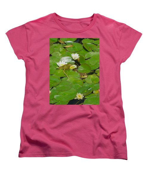 Frog With Water Lilies Women's T-Shirt (Standard Cut) by Mark Barclay