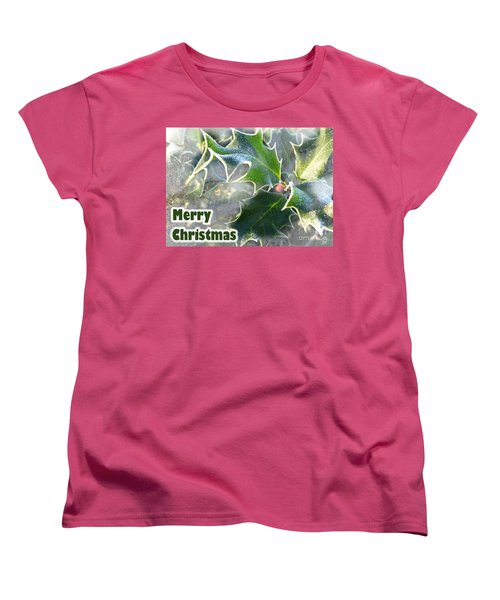 Women's T-Shirt (Standard Cut) featuring the photograph Frosty Holly by LemonArt Photography