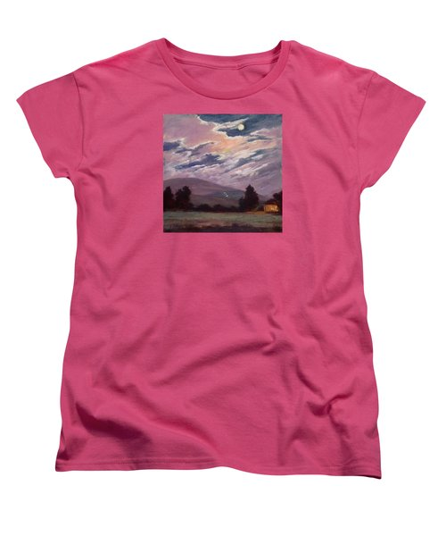 Full Moon With Clouds Women's T-Shirt (Standard Cut) by Jane Thorpe