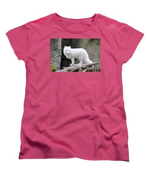 Furry Arctic Fox  Women's T-Shirt (Standard Cut) by Athena Mckinzie