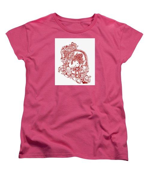 Ganesha Line Drawing Women's T-Shirt (Standard Cut) by Suhas Tavkar