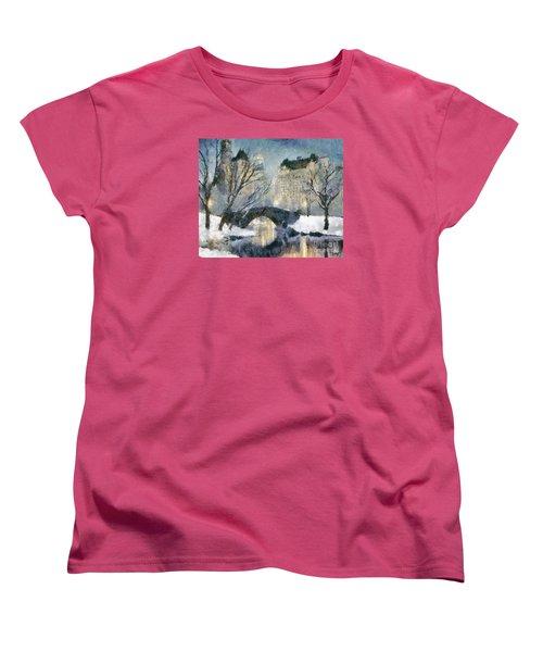 Gapstow Bridge In Snow Women's T-Shirt (Standard Cut) by Dragica  Micki Fortuna