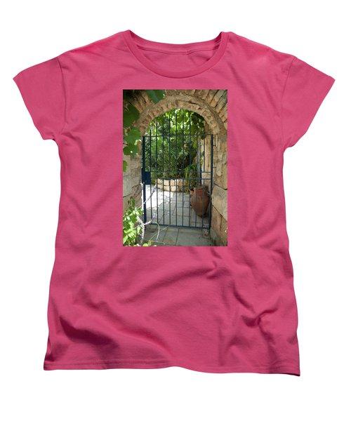 Women's T-Shirt (Standard Cut) featuring the photograph Garden Door Entrance by Yoel Koskas