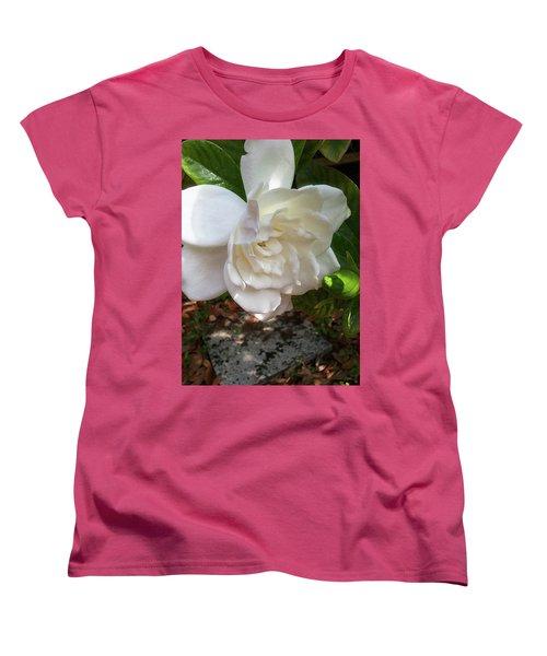 Women's T-Shirt (Standard Cut) featuring the photograph Gardenia Blossom by Ginny Schmidt
