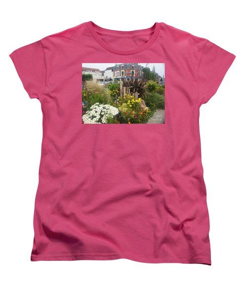 Women's T-Shirt (Standard Cut) featuring the photograph Gardens At Albert Train Station In France by Therese Alcorn