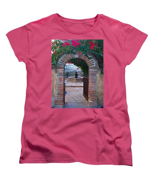 Gate To The Sacred Garden And Bell Wall Mission San Juan Capistrano California Women's T-Shirt (Standard Cut) by Karon Melillo DeVega
