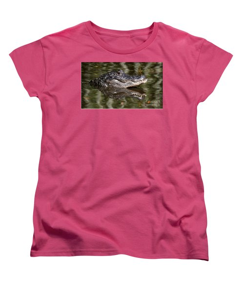 Women's T-Shirt (Standard Cut) featuring the photograph Gator With Dragonfly by Myrna Bradshaw
