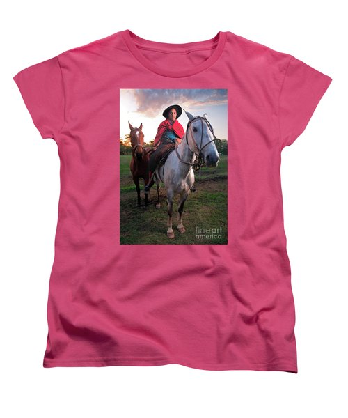 Women's T-Shirt (Standard Cut) featuring the photograph Gaucho Argentino by Bernardo Galmarini