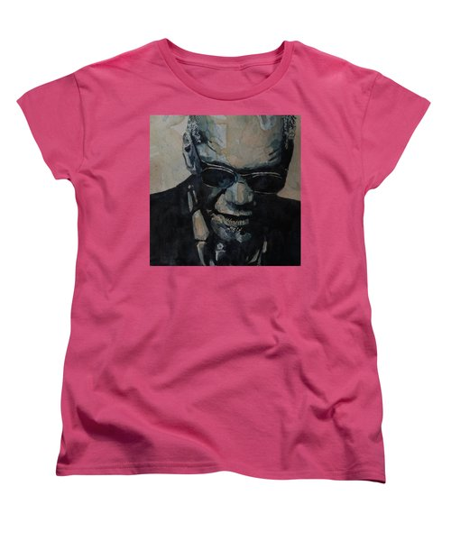 Georgia On My Mind - Ray Charles  Women's T-Shirt (Standard Cut) by Paul Lovering