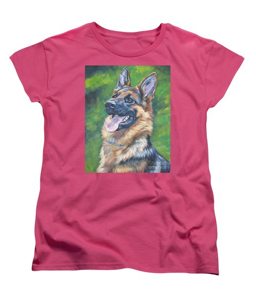 German Shepherd Head Study Women's T-Shirt (Standard Cut) by Lee Ann Shepard