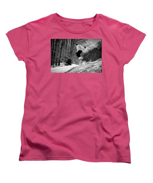 Women's T-Shirt (Standard Cut) featuring the photograph Getting Air On The Snowboard by David Patterson