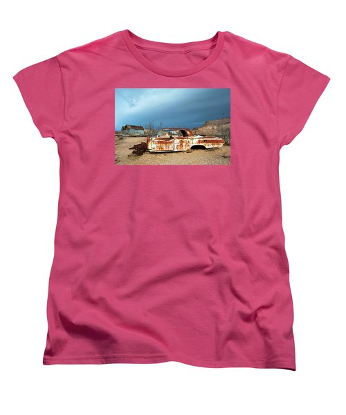 Women's T-Shirt (Standard Cut) featuring the photograph Ghost Town Old Car by Catherine Lau