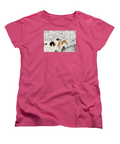 giant Borzoi hounds in winter Women's T-Shirt (Standard Cut) by Christian Lagereek