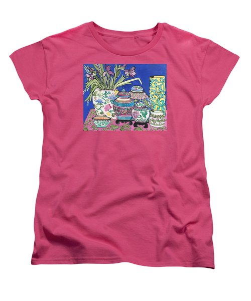 Women's T-Shirt (Standard Cut) featuring the painting Ginger Jars by Rosemary Aubut