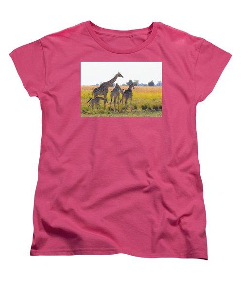Women's T-Shirt (Standard Cut) featuring the photograph Giraffe Family by Betty-Anne McDonald
