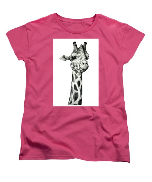 Women's T-Shirt (Standard Cut) featuring the drawing Giraffe by Heidi Kriel