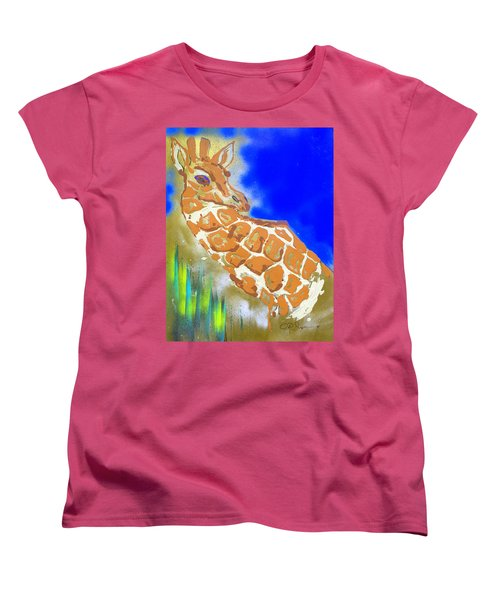 Women's T-Shirt (Standard Cut) featuring the painting Giraffe by J R Seymour