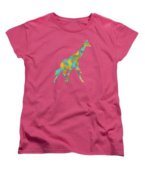 Giraffe Watercolor Art Women's T-Shirt (Standard Cut) by Christina Rollo