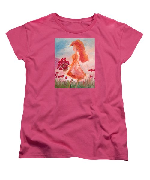 Girl With Poppies Women's T-Shirt (Standard Cut) by Roxy Rich