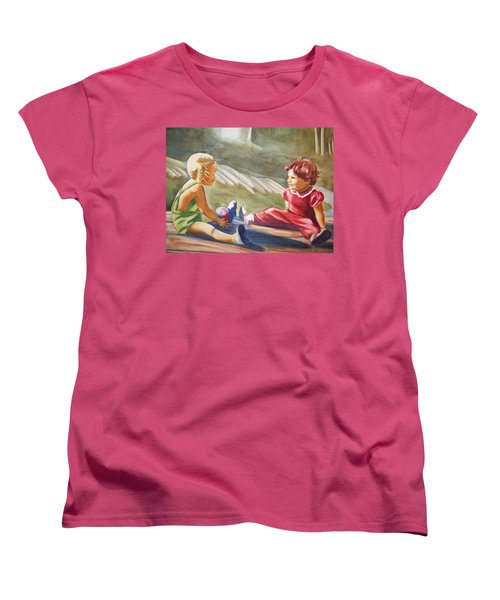 Women's T-Shirt (Standard Cut) featuring the painting Girls Playing Ball  by Marilyn Jacobson
