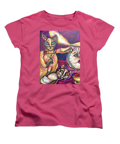 Women's T-Shirt (Standard Cut) featuring the painting Girls Talk by Rae Chichilnitsky