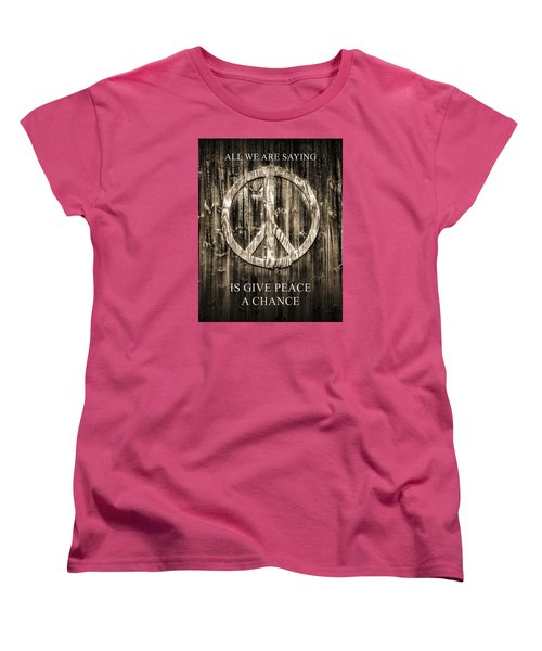 Women's T-Shirt (Standard Cut) featuring the photograph Give Peace A Chance by Betty Denise