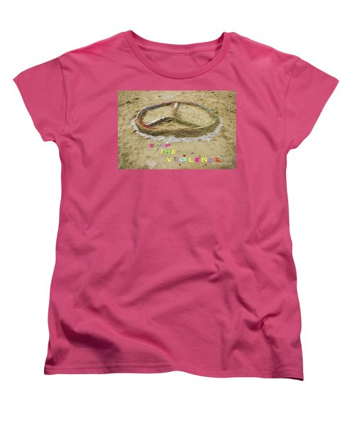 Women's T-Shirt (Standard Cut) featuring the photograph Give Peace A Chance - Sand Art by Colleen Kammerer