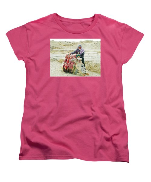 Women's T-Shirt (Standard Cut) featuring the photograph Giza Camel Taxi by Joseph Hendrix