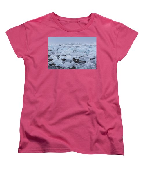 Women's T-Shirt (Standard Cut) featuring the tapestry - textile Glacier Ice by Kathy Adams Clark