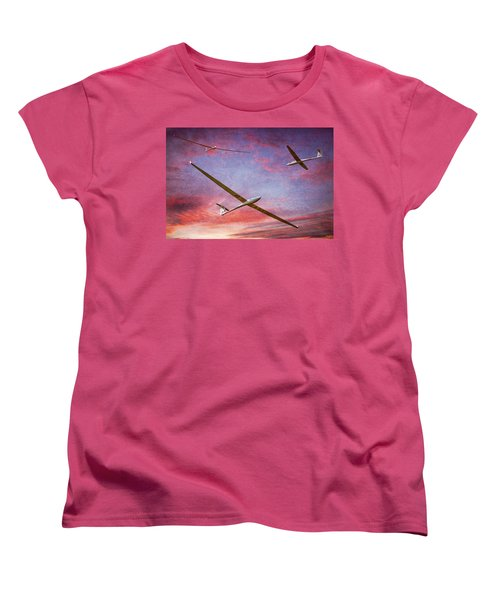 Gliders Over The Devil's Dyke At Sunset Women's T-Shirt (Standard Cut) by Chris Lord