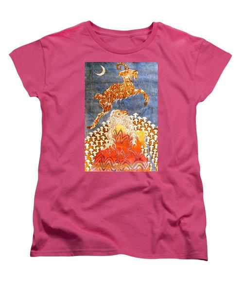 Goat Leaping Over Wood Elf Women's T-Shirt (Standard Cut)