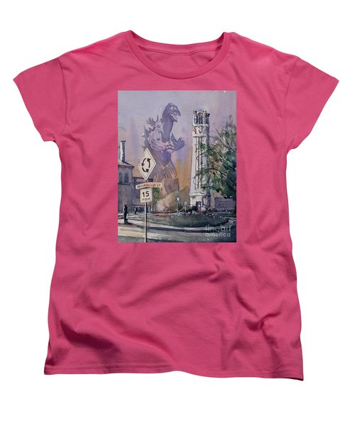 Women's T-Shirt (Standard Cut) featuring the painting Godzilla Smash Ncsu- Raleigh by Ryan Fox