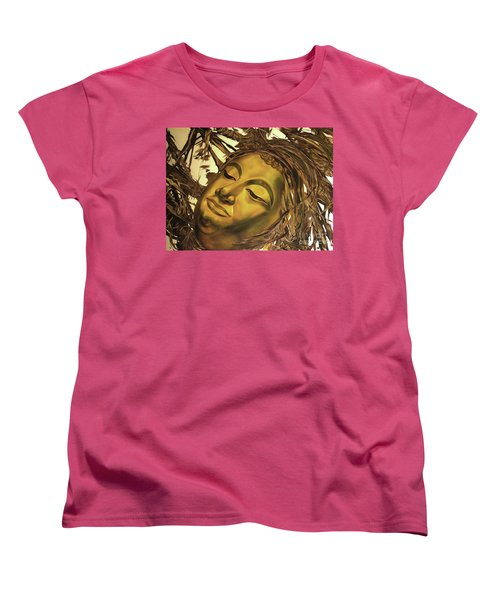 Women's T-Shirt (Standard Cut) featuring the painting Gold Buddha Head by Chonkhet Phanwichien