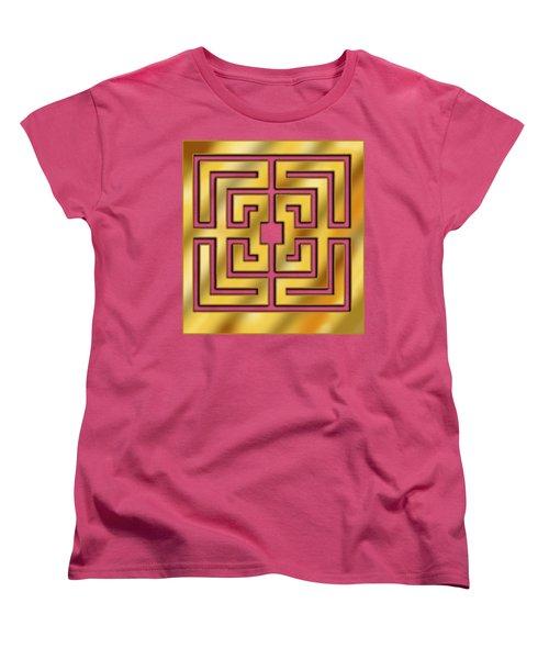 Women's T-Shirt (Standard Cut) featuring the digital art Gold Geo 3 - Chuck Staley by Chuck Staley